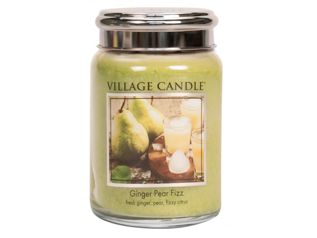 Village Candle Vonná svíčka ve skle, Hruškový fizz se zázvorem, 26oz