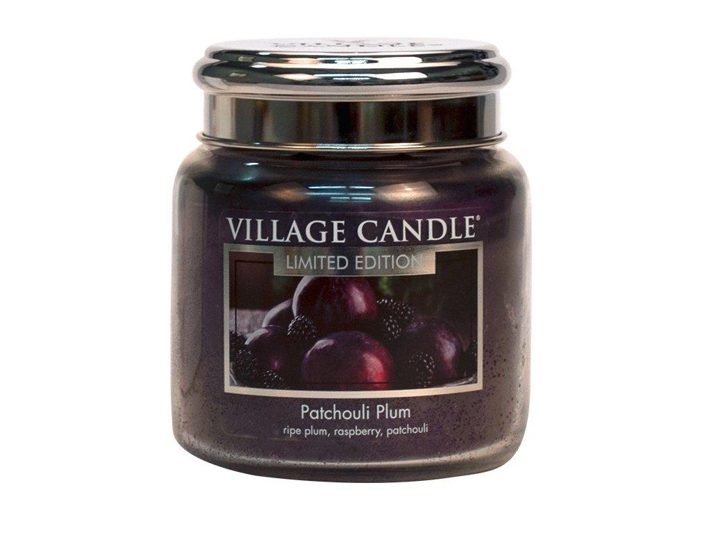 Village Candle Vonná svíčka ve skle, Švestka a pačuli - Patchouli Plum, 16oz