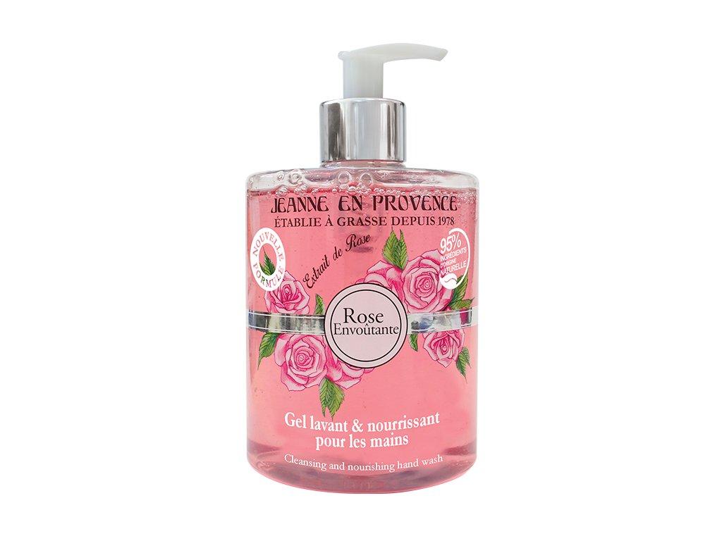 Jeanne en Provence Mycí gel na ruce - Podmanivá růže, 500ml
