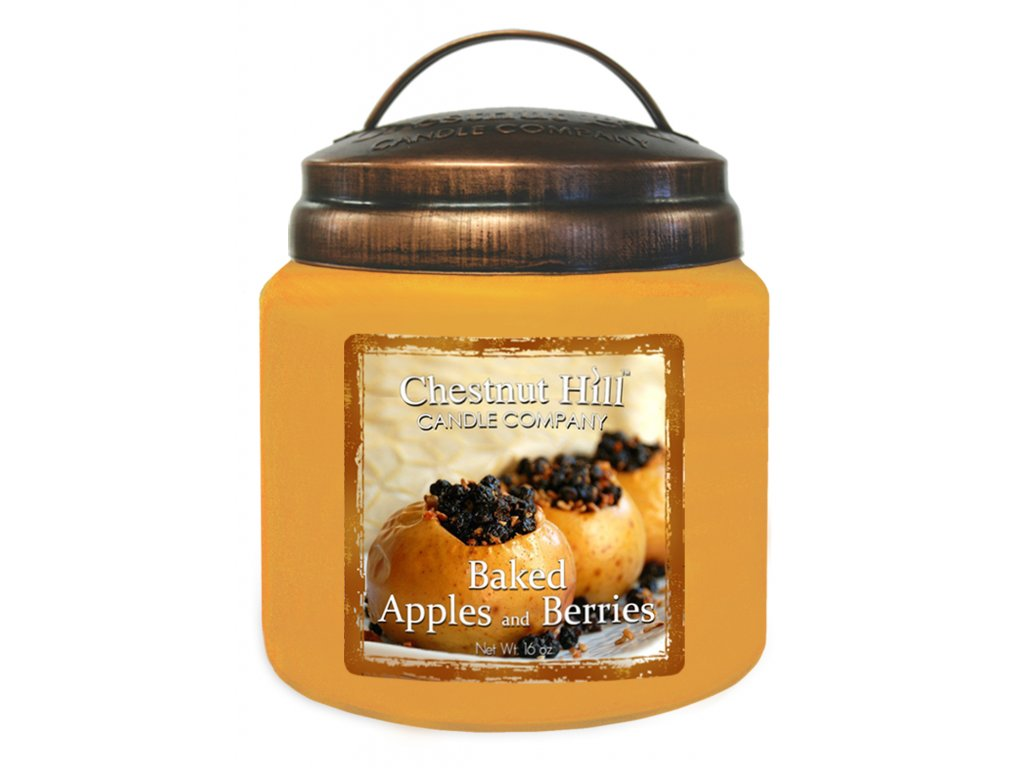 Chestnut Hill Vonná svíčka ve skle Pečená jablka a bobule - Baked Apples and Berries, 16oz