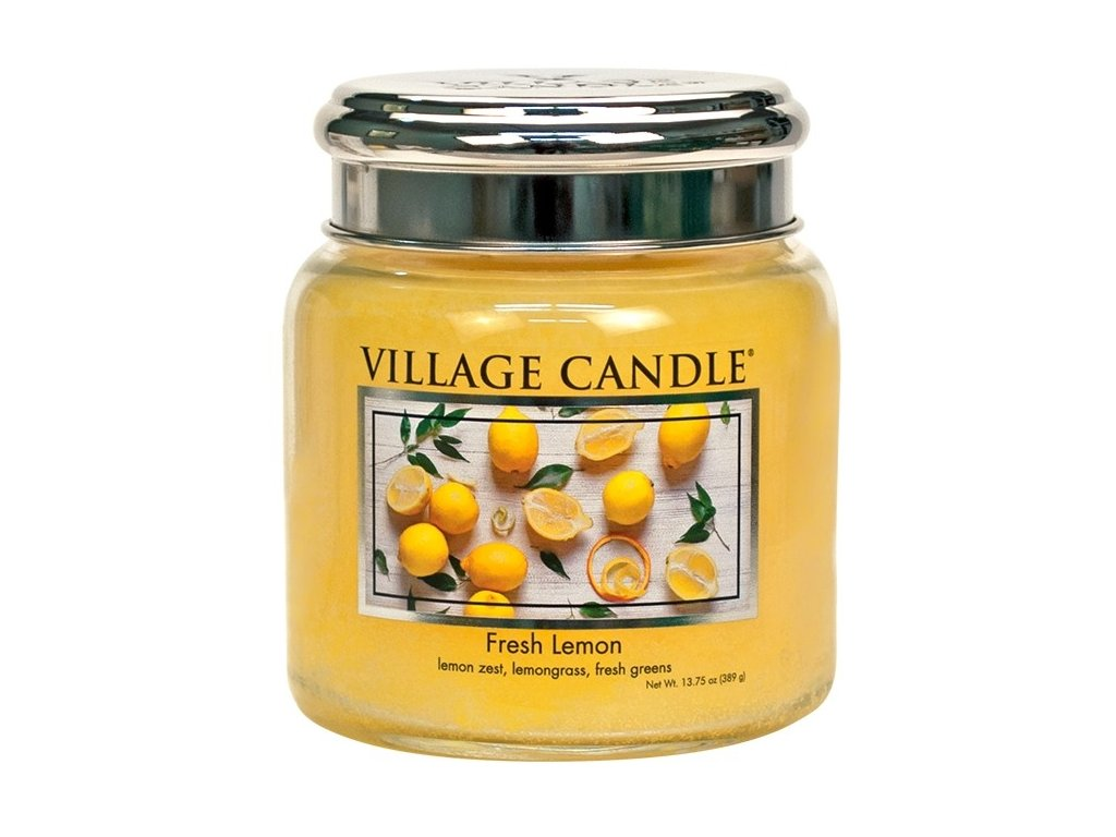 Village Candle Vonná svíčka ve skle - Fresh Lemon, 16oz