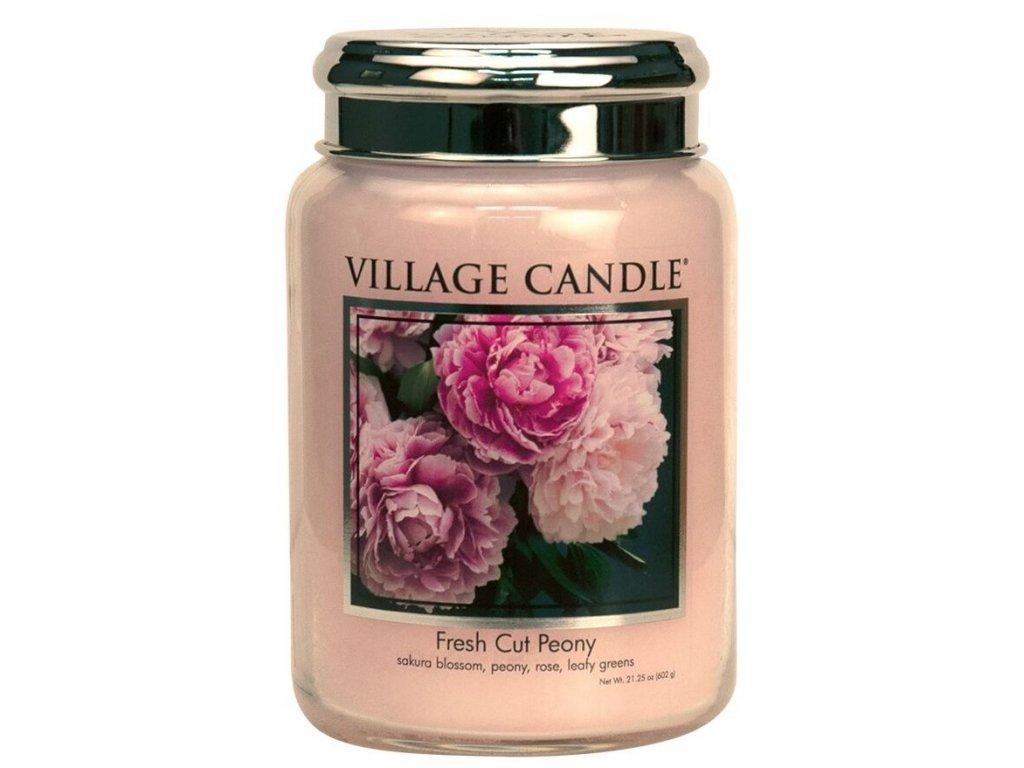 Village Candle Vonná svíčka ve skle, Pivoňky - Fresh Cut Peony, 16oz