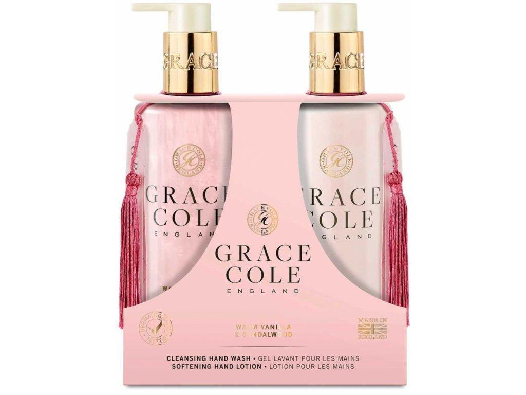 Grace Cole Tekuté mýdlo na ruce + Jemné mléko na ruce - Warm Vanilla & Sandalwood, 2x300ml