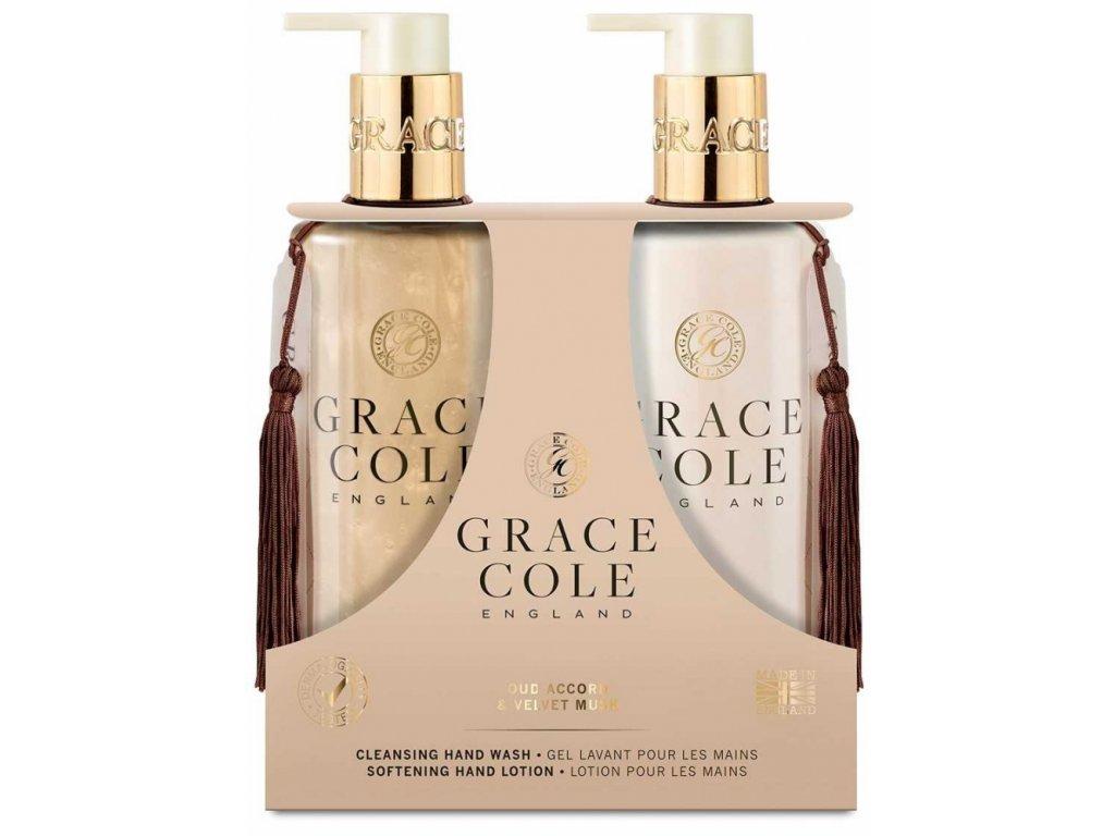 Grace Cole Tekuté mýdlo na ruce + Jemné mléko na ruce - Oud Accord & Velvet Musk, 2x300ml