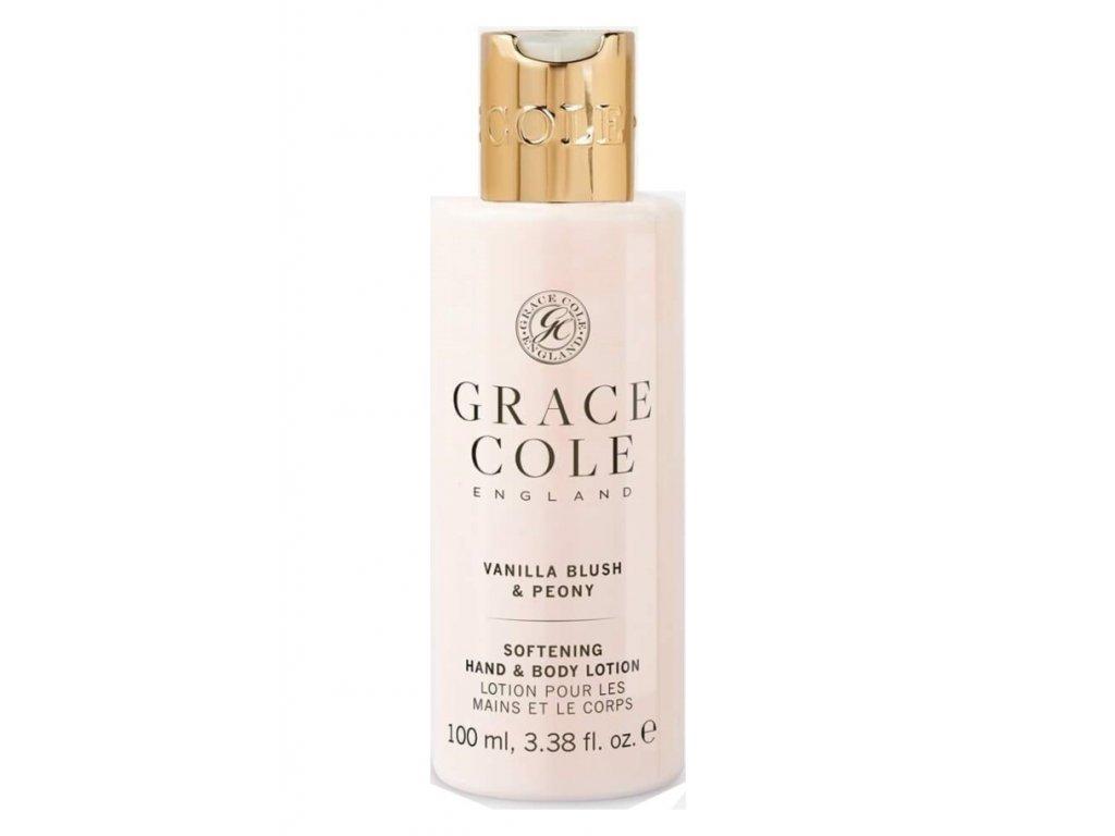 Grace Cole Hydratační mléko na ruce a tělo v cestovní verzi - Jemná vanilka & Pivoň, 100ml