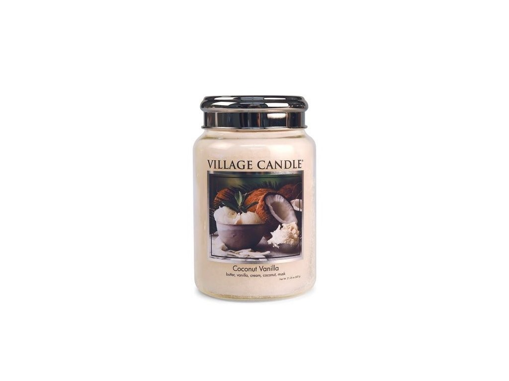 Village Candle Vonná svíčka ve skle, Kokos a Vanilka - Coconut Vanilla 26oz