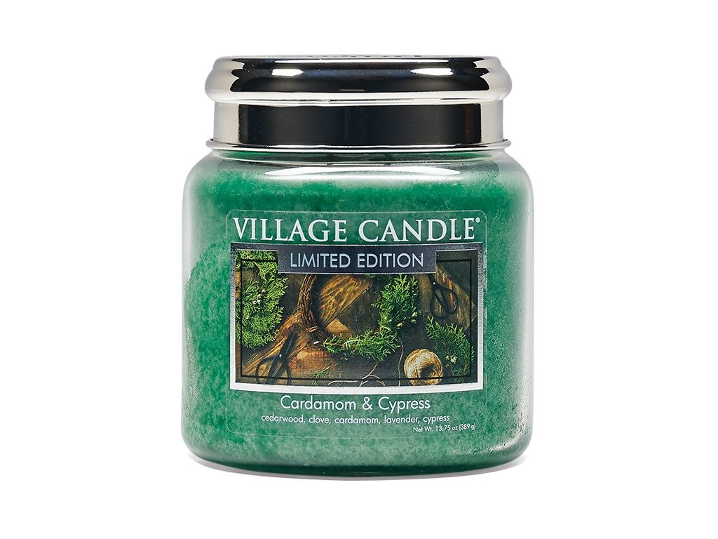 Village Candle Vonná svíčka ve skle, Kardamom a Cypřiš - Cardamom & Cypress 16oz