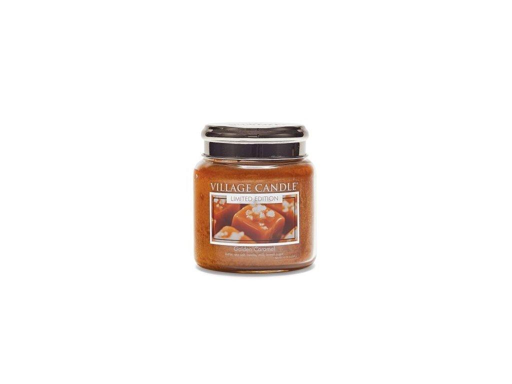 Village Candle Vonná svíčka ve skle, Zlatý Karamel - Golden Caramel 16oz