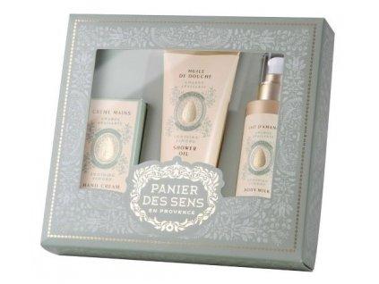 Panier des Sens Dárková sada - Mandle (sprchový gel + tělové mléko + krém na ruce )