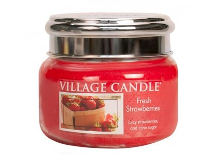 Village Candle Vonná svíčka ve skle, Čerstvé jahody - Fresh Strawberry, 11oz