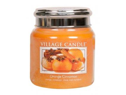 Village Candle Vonná svíčka ve skle, Pomeranč a skořice - Orange Cinnamon, 16oz