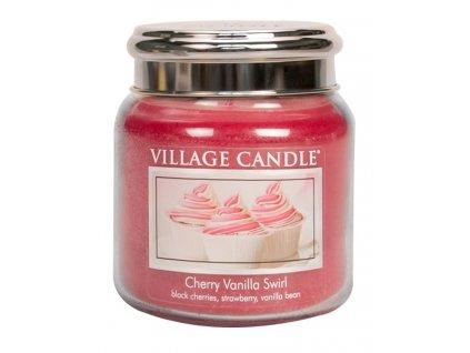 Village Candle Vonná svíčka ve skle, Višeň a vanilka - Cherry Vanilla Swirl, 16oz
