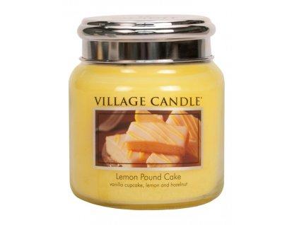 Village Candle Vonná svíčka ve skle, Citrónový koláč - Lemon Pound Cake, 16oz