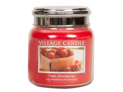 Village Candle Vonná svíčka ve skle, Čerstvé jahody - Fresh Strawberry, 16oz
