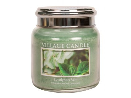 Village Candle Vonná svíčka ve skle, Eukalyptus a máta - Eucalyptus mint, 16oz