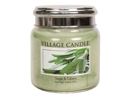 Village Candle Vonná svíčka ve skle, Svěží šalvěj - Sage Celery, 16oz