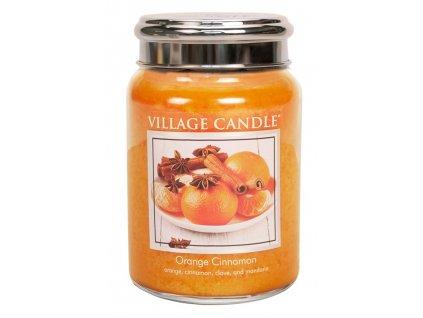Village Candle Vonná svíčka ve skle, Pomeranč a skořice - Orange Cinnamon, 26oz