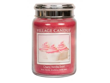 Village Candle Vonná svíčka ve skle, Višeň a vanilka - Cherry Vanilla Swirl, 26oz