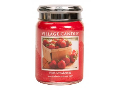 Village Candle Vonná svíčka ve skle, Čerstvé jahody - Fresh Strawberry, 26oz