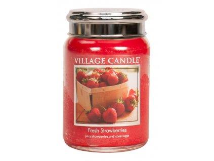 Village Candle Vonná svíčka ve skle, Čerstvé jahody - Fresh Strawberry, 26oz