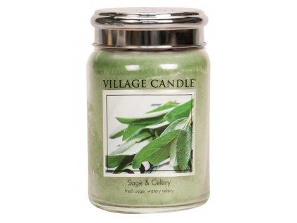Village Candle Vonná svíčka ve skle, Svěží šalvěj - Sage Celery, 26oz