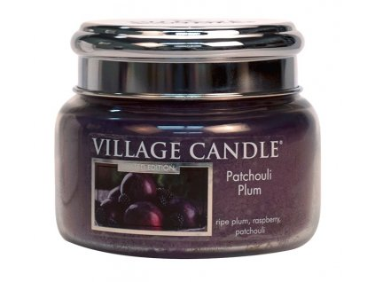 Village Candle Vonná svíčka ve skle, Švestka a pačuli - Patchouli Plum, 11oz