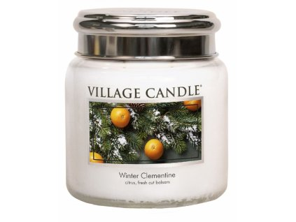 Village Candle Vonná svíčka ve skle, Sváteční Mandarinka - Winter Clementine, 16oz