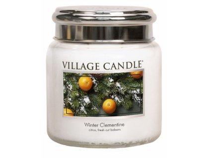Village Candle Vonná svíčka ve skle - Sváteční Mandarinka - Winter Clementine, 16oz