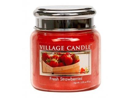 Village Candle Vonná svíčka ve skle, Čerstvé jahody - Fresh Strawberry, 3,75oz