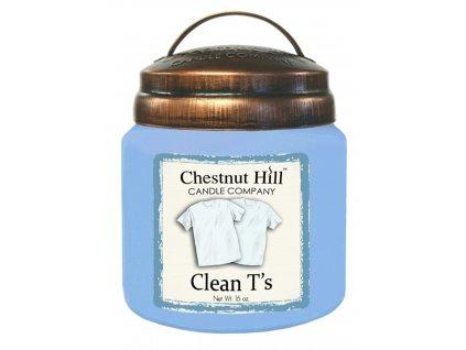 Chestnut Hill Vonná svíčka ve skle Čisté tričko - Clean T's, 16oz