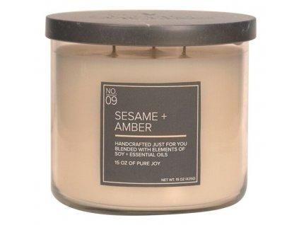 Village Candle Vonná svíčka ve skle - Sesame + Amber 15oz
