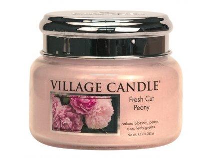 Village Candle Vonná svíčka ve skle, Pivoňky - Fresh Cut Peony, 11oz