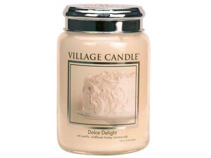 Village Candle Vonná svíčka ve skle, Sametové Potěšení - Dolce Delight, 26oz