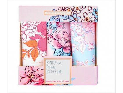 Heathcote & Ivory Sada krémů na ruce a nehty - Pinks & Pear Blossom, 3x30ml