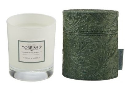 Heathcote & Ivory Vonná svíčka ve skle v obalu - Suede & Amber - 7,06oz