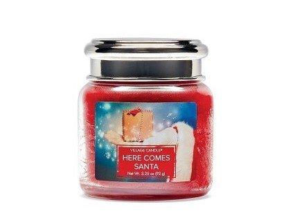 Village Candle Vonná svíčka ve skle, Santova Návštěva - Here Comes Santa 3,75oz