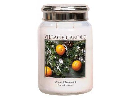 Village Candle Vonná svíčka ve skle, Sváteční Mandarinka - Winter Clementine, 26oz