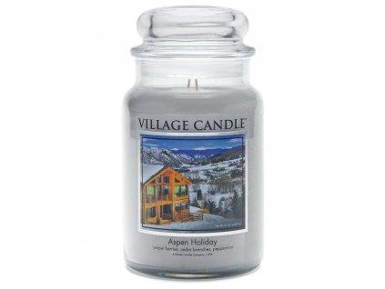 Village Candle Vonná svíčka ve skle - Prázdniny na horách - Aspen Holiday, 16oz