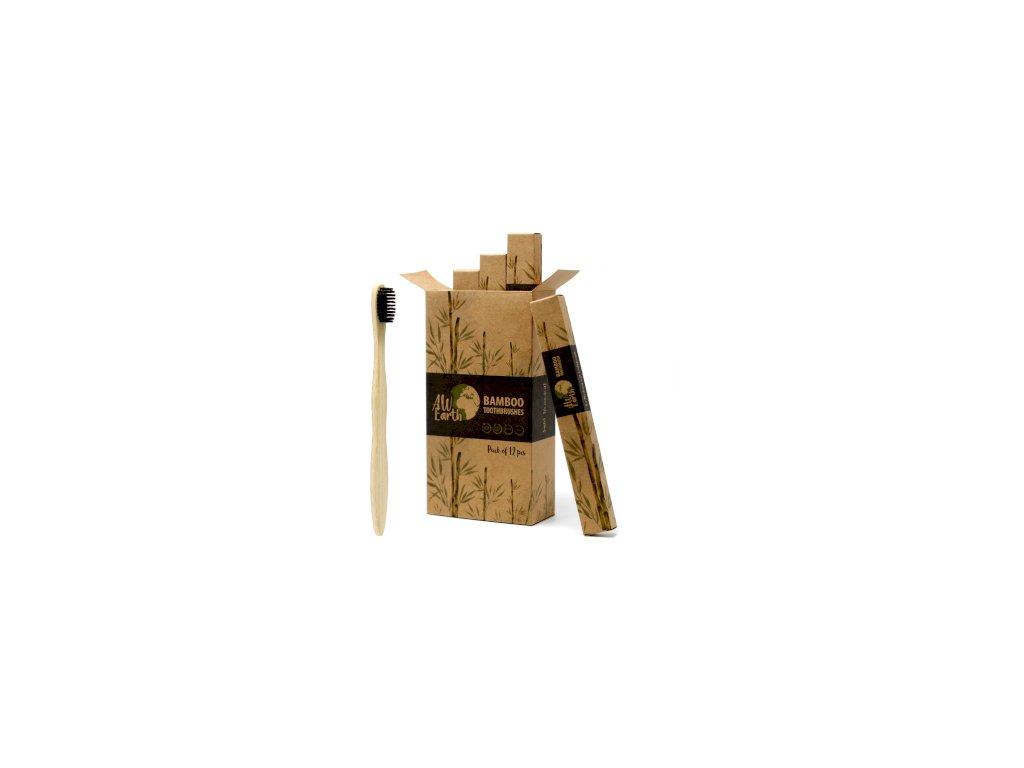 Bambusový zubní kartáček černý