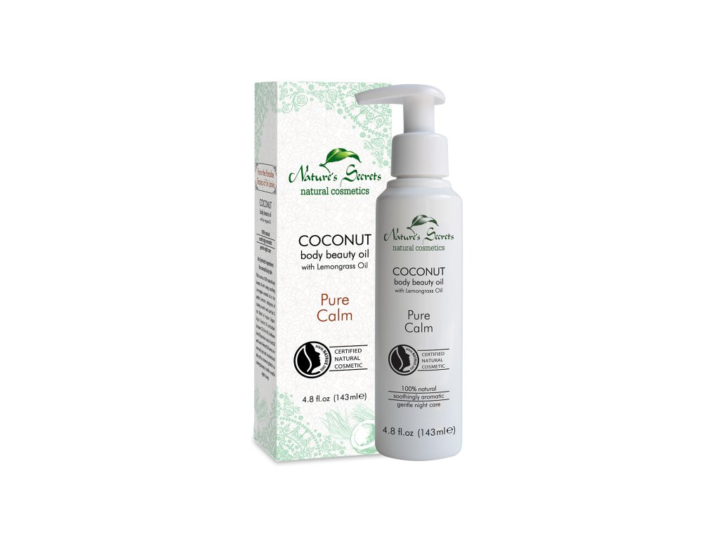 coconut body beauty oil with lemongrass oil pure calm