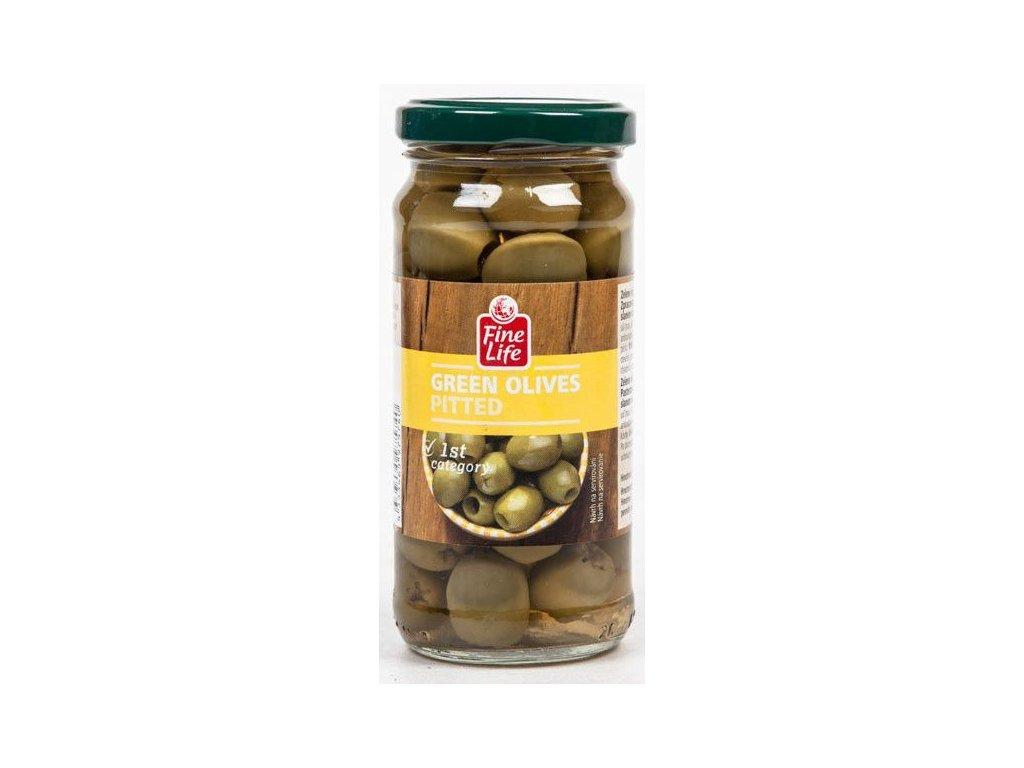 zelené olivy sklo finelife