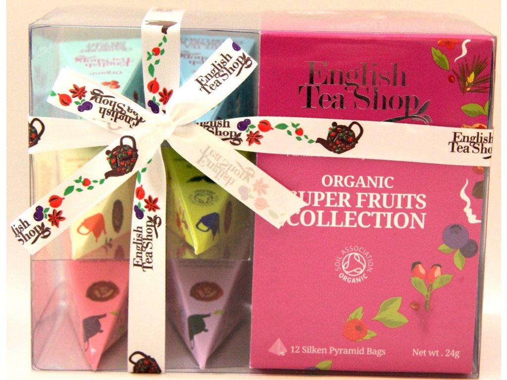 Výběr 12 anglických čajů Dárkové balení -  Organic super fruits collection -