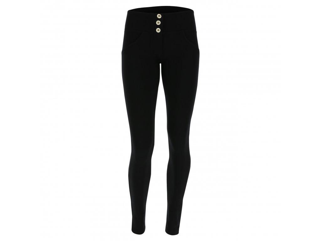 Freddy kalhoty v černé barvě, střední pas, knoflíky, skinny střih