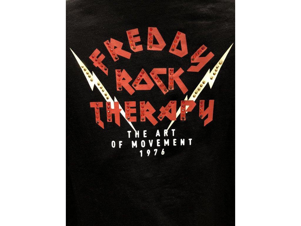 Freddy mikina ROCK v černé barvě s červeným nápisem