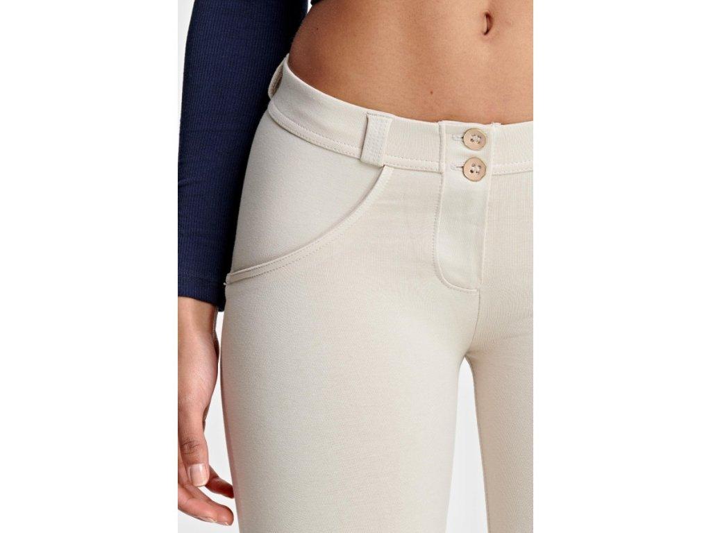 wrup spodnie super skinny z regularnym stanem w kolorze jasnego bezu o dlugosci 78 4