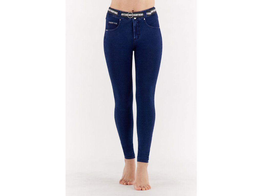 N.O.W.® Freddy kalhoty v džínově tmavě modré, modrý šev, slim fit, s páskem
