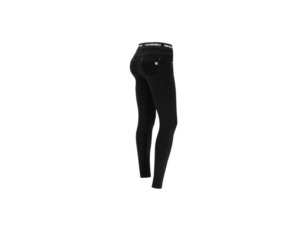 N.O.W.® Freddy kalhoty v džínově černé, černý šev, slim fit, s páskem