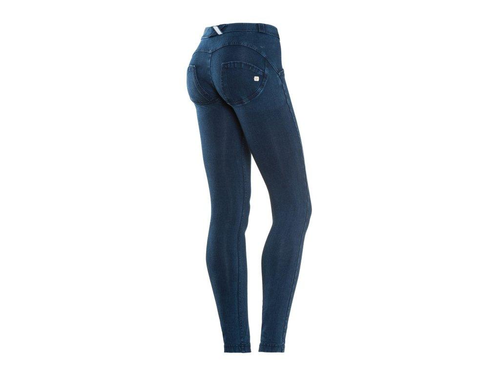 Freddy kalhoty džínové tmavě modré, modrý šev, normální pas, skinny střih