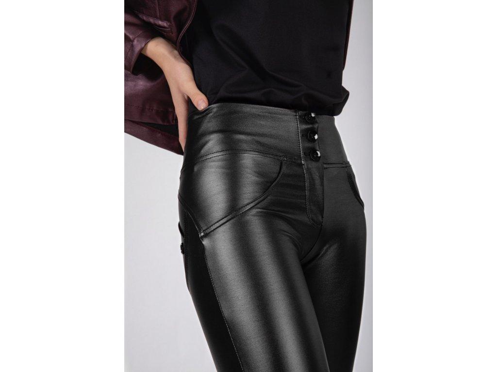 wrup ecoleather mid waist skinny metallic finish n black 2