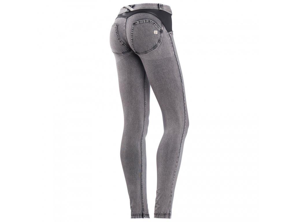 Freddy kalhoty v šedivé džínové, kožené prvky